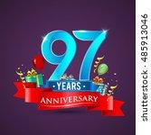 97 years anniversary... | Shutterstock .eps vector #485913046