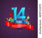 14 years anniversary... | Shutterstock .eps vector #485913295