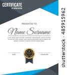 vector certificate template. | Shutterstock .eps vector #485915962