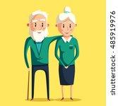 happy grandparents. vector... | Shutterstock .eps vector #485919976