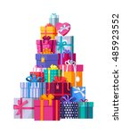 mountain of colorful gift boxes ... | Shutterstock .eps vector #485923552