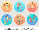 set of banners sale with people.... | Shutterstock .eps vector #485923555