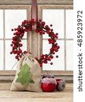 santa's bag with sweet apples... | Shutterstock . vector #485923972