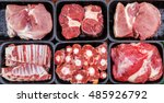 different types of raw meat in... | Shutterstock . vector #485926792