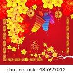 happy chinese new year 2017...   Shutterstock . vector #485929012