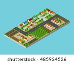 isometric farm with the houses  ... | Shutterstock .eps vector #485934526