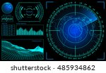 military green radar. screen... | Shutterstock .eps vector #485934862