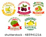 natural organic fruits badges... | Shutterstock .eps vector #485941216