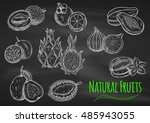chalk sketches of exotic fruits ...   Shutterstock .eps vector #485943055