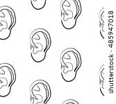 sketch of human ear on white... | Shutterstock . vector #485947018