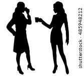 two friends   women drinking... | Shutterstock .eps vector #485948212