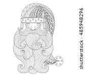 fancy santa in zentangle style. ... | Shutterstock .eps vector #485948296