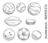 sporting balls and puck... | Shutterstock .eps vector #485952172