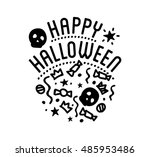 halloween stylish logo black... | Shutterstock .eps vector #485953486