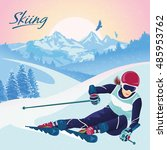 skiing in the mountains. vector ... | Shutterstock .eps vector #485953762