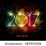 happy new year 2017 fireworks... | Shutterstock . vector #485954206