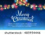 merry christmas bokeh... | Shutterstock .eps vector #485954446