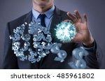 man in american dollar concept | Shutterstock . vector #485961802
