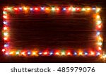 glowing christmas lights frame... | Shutterstock . vector #485979076