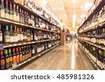 blurred image of wine shelves...   Shutterstock . vector #485981326