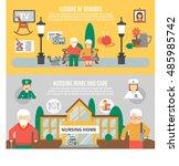 horizontal flat banners... | Shutterstock . vector #485985742