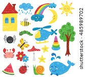 children drawings set. colorful ... | Shutterstock . vector #485989702