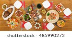 healthy meals at festive table... | Shutterstock . vector #485990272