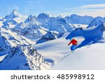 skiing with amazing view of... | Shutterstock . vector #485998912