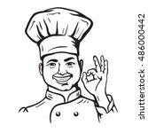 chief cooker. vector cartoon | Shutterstock .eps vector #486000442