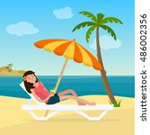 girl in swimsuit in hammock... | Shutterstock .eps vector #486002356