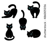 set of cats on a white... | Shutterstock . vector #486005356