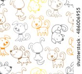 Stock vector seamless pattern with cute cartoon dogs on white background little puppies funny animals vector 486006955