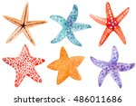 set collection of hand painted... | Shutterstock . vector #486011686