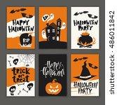 set of six funny vector... | Shutterstock .eps vector #486011842