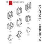 isometric line icons. stylized...