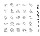 meat and fish vector icons for... | Shutterstock .eps vector #486012766