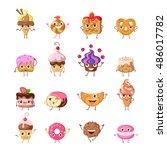 set of funny dancing sweets.... | Shutterstock .eps vector #486017782