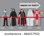 people in fancy costumes as... | Shutterstock .eps vector #486017902