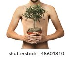 man standing holding growing ... | Shutterstock . vector #48601810