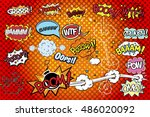 collection multicolored comic... | Shutterstock .eps vector #486020092