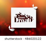 happy diwali text design.... | Shutterstock .eps vector #486020122