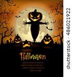 halloween party poster with... | Shutterstock .eps vector #486021922