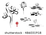 lotus flowers hand drawn with... | Shutterstock . vector #486031918