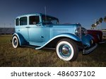 old blue car with whitewall... | Shutterstock . vector #486037102