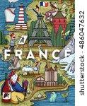 funny hand drawn cartoon france ...   Shutterstock .eps vector #486047632