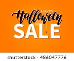 halloween sale vector banner... | Shutterstock .eps vector #486047776