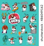 sticker collection of emoji... | Shutterstock .eps vector #486049162