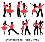 set of  silhouettes of a... | Shutterstock .eps vector #48604951