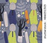 decorative forest  vector... | Shutterstock .eps vector #486051505
