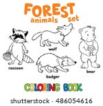 coloring book set of funny... | Shutterstock .eps vector #486054616